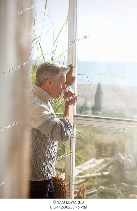 Senior man drinking coffee at sunny beach house window
