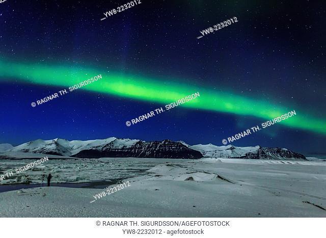 Photographing the Aurora Borealis, Jokulsarlon, Iceland