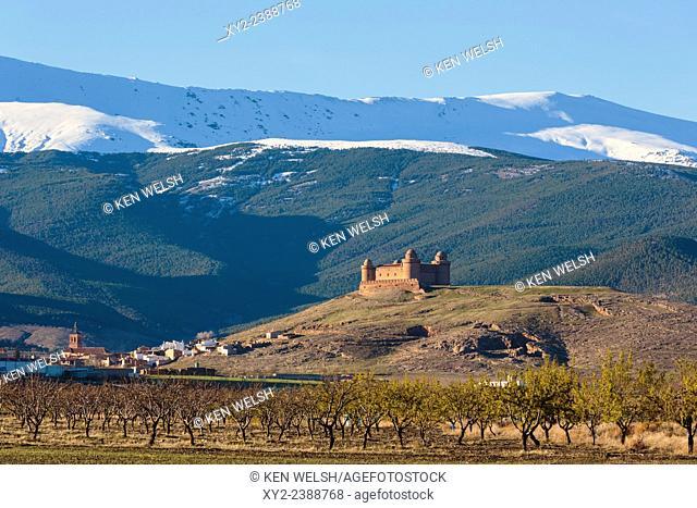 La Calahorra, Granada Province, Andalusia, southern Spain. Castillo de La Calahorra on hill above town of La Calahorra. Italian Renaissance castle constructed...