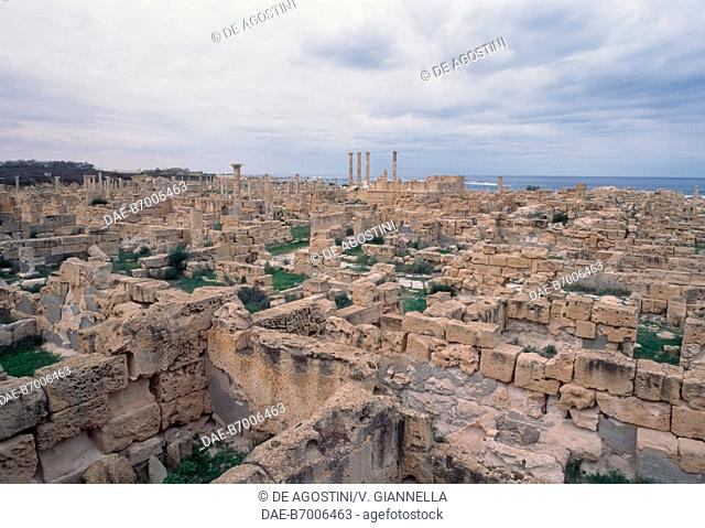 Ruins of the city of Sabratha (Unesco World Heritage List, 1982), in the background the temple of Liber Pater, Libya, Roman civilization