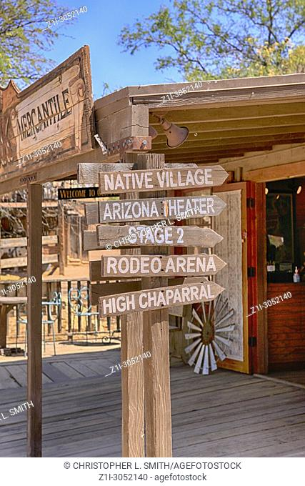 Signpost at the Old Tucson Film Studios amusement park in Arizona