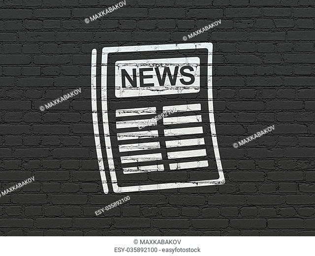 News concept: Newspaper on wall background