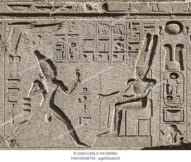 Luxor, Egypt. Temple of Luxor (Ipet resyt): relief showing the king Usermaatra Setepenra Ramses II the Great