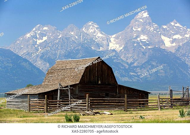 John Moulton Homestead, dates from 1890's, barn, Morman Row, Grand Teton National Park, Wyoming, USA