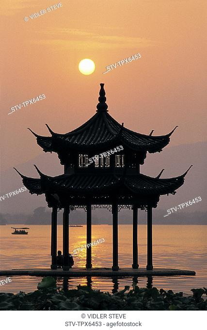 Architecture, Asia, China, Chinese, Hangzhou, Holiday, Lake, Landmark, Moody, Pagoda, Province, Reflection, Silouhette, Sunset