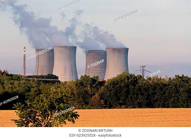 Cooling towers at the nuclear power plant