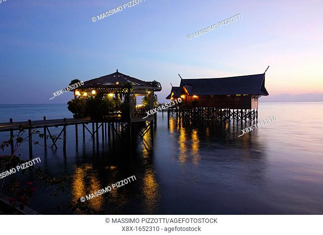 Kapalai resort at Kapalai Island at sunset, Borneo, Malaysia