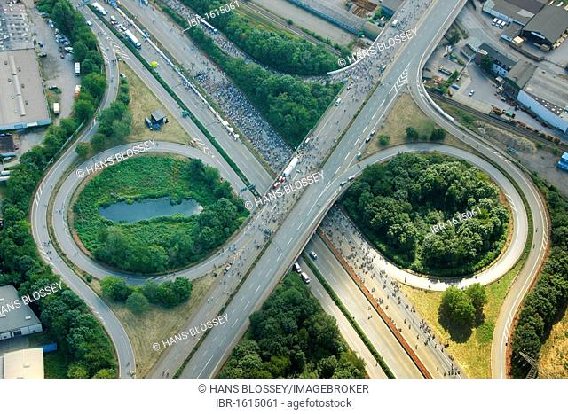 Aerial view, RUHR.2010 Action Still-life on the A 40, Duisburg, Ruhr Area, North Rhine-Westphalia, Germany, Europe