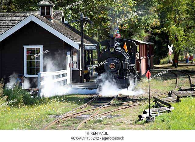 Steam locomotive 25 at the BC Forest Discovery Centre in Duncan, British Columbia, Canada