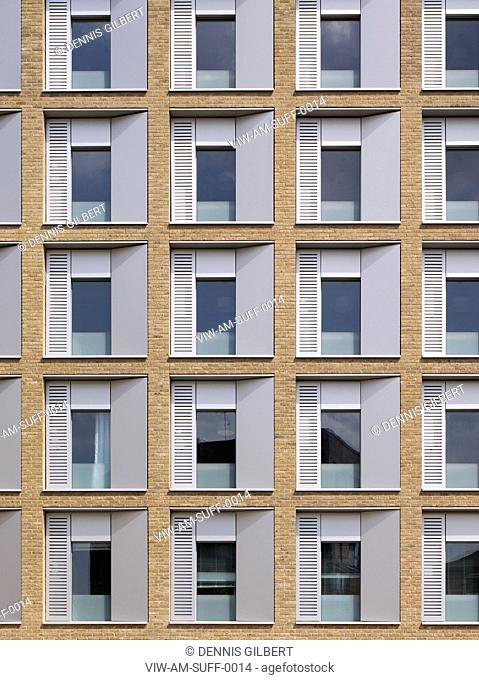 RESIDENTIAL STUDENT HOUSING ALLIES AND MORRISON LONDON 2010 DETAILED FRONT VIEW OF BRICKWORK FACADE, LONDON, UNITED KINGDOM, Architect