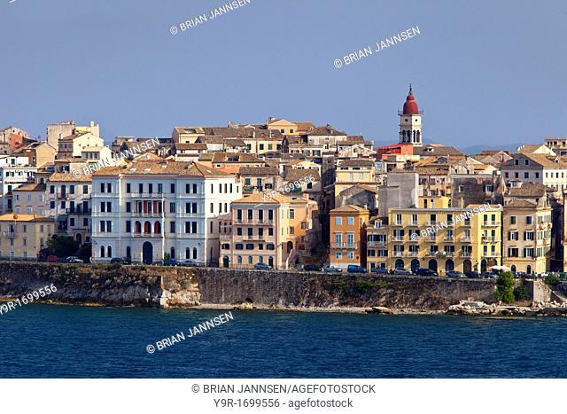 Waterfront buildings of Corfu Town Kerkyra, Ionian island of Corfu, Greece