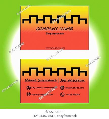 Abstract modern yellow and red business card