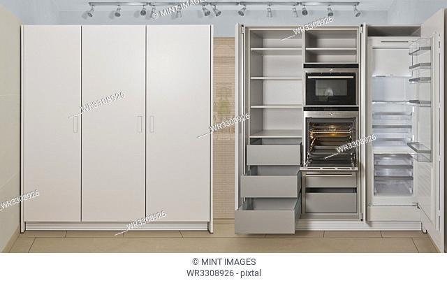 Empty refrigerator and cabinet storage in modern kitchen