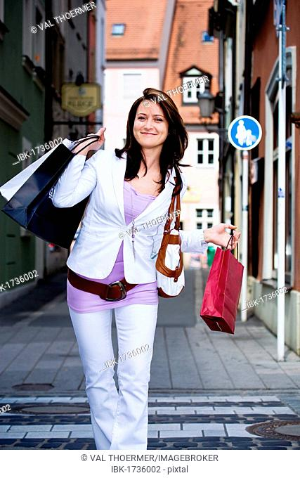 Young woman shopping in the city