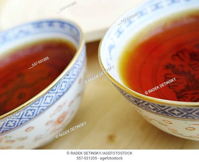 black tea in traditional China rice porcelane bowl