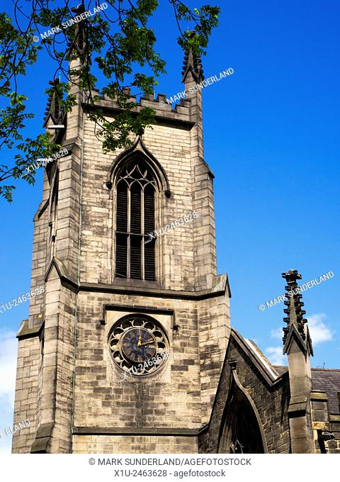 Belltower at St John the Evangelist Church on New Briggate Leeds West Yorkshire England