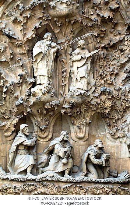 """Fachada de la Natividad â. """" Adoración de los Reyes Magos - Sagrada Familia, Barcelona, Catalonia, Spain"""