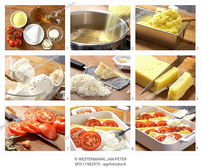 How to prepare polenta, cheese and tomato bake