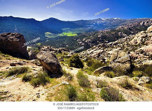 Sierra de Guadarrama from La Pedriza Regional Park Cuenca Alta del Manzanares Madrid Spain