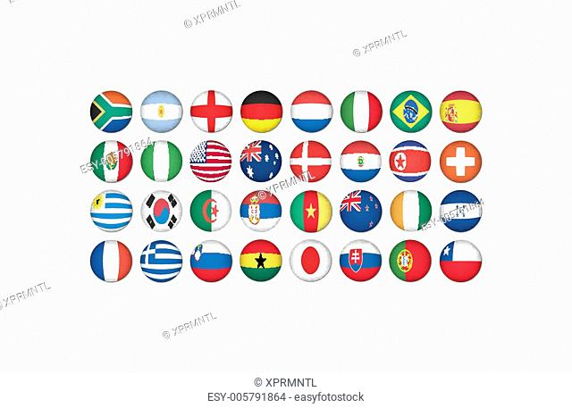 stickers buttons of national flags in oval shape with shine, glo