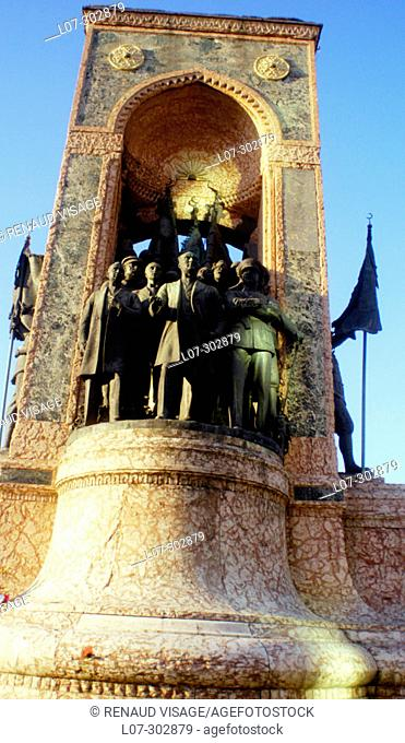 Republic Monument (Cumhuriyet Aniti) on Tacsim square. Istanbul. Turkey