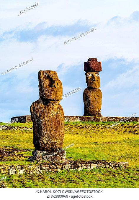 Moais in Tahai Archaeological Complex, Rapa Nui National Park, Easter Island, Chile