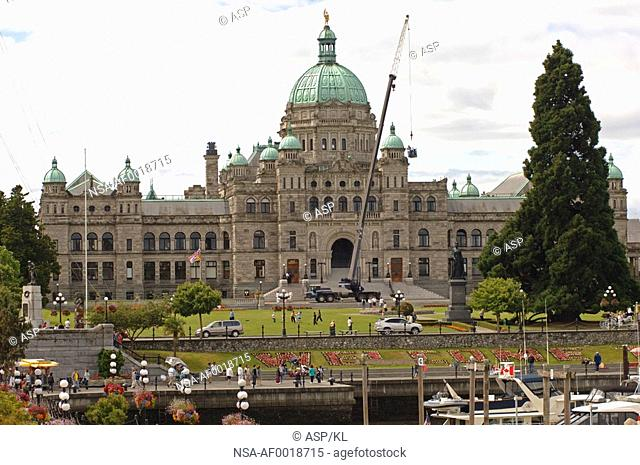 View of Government Buildings from harbour, Victoria, British Columbia, Canada
