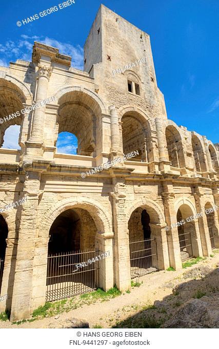 Roman amphitheater, Arles, Bouches-du-Rhone, Provence - Alpes-Cote d Azur, France, Europe