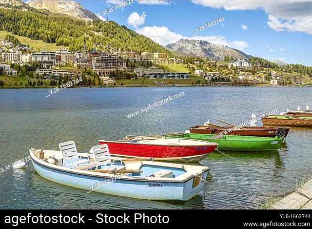 Rowing Boats at Lake St Moritz, Engadin, Switzerland