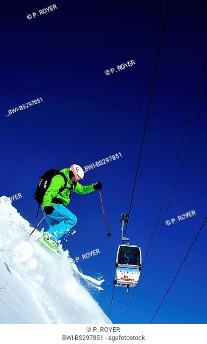 skier and cablecar, France, Savoie
