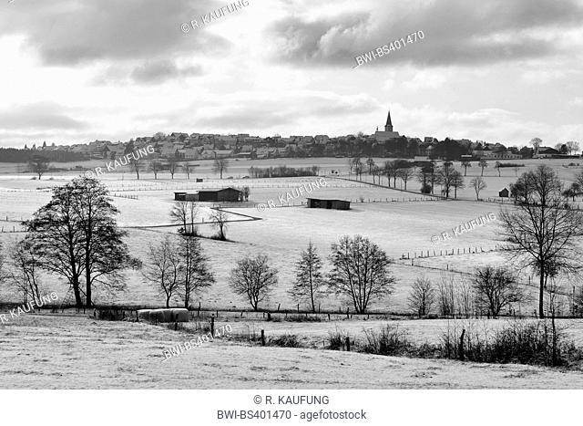 field landscape in snow near Warstein, Germany, North Rhine-Westphalia, Sauerland, Hirschberg