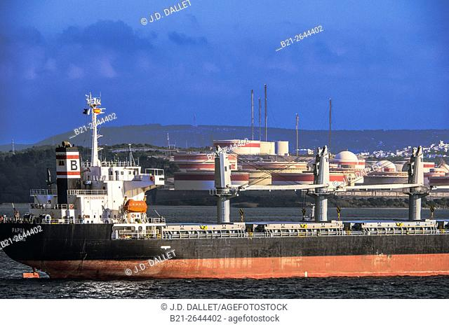 Refinery area in the Bay of Gibraltar, Cadiz province, Andalusia, Spain