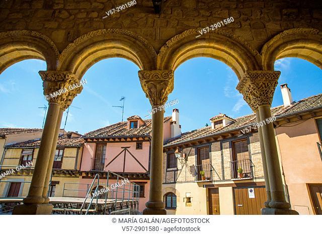 Facades of houses from the portico of San Lorenzo church. San Lorenzo district, Segovia, Spain