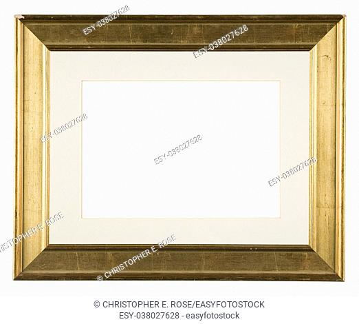 Empty picture frame, distressed gilt finish, with mount