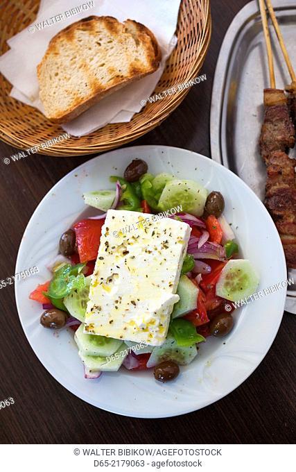 Greece, Peloponese Region, Corinth, Greek Salad and Souvlaki