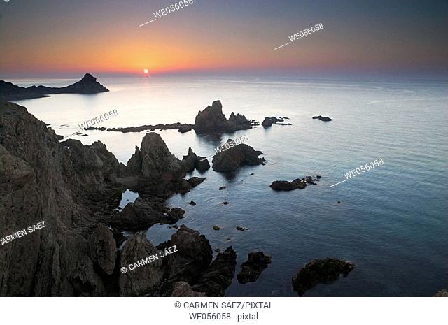 Las Sirenas (The Mermaids) rock formations, Cabo de Gata-Níjar Biosphere Reserve. Almería province, Andalusia, Spain