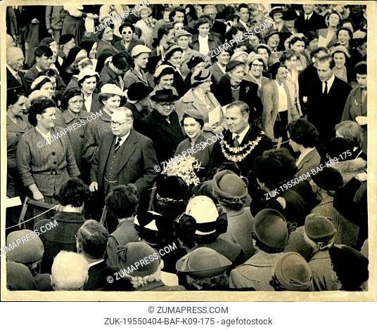 Apr. 04, 1955 - Princess Margaret lays foundation smote of new church at new-bury. H.r.h. Princess Margaret today laid the foundation stone of the new st johns...
