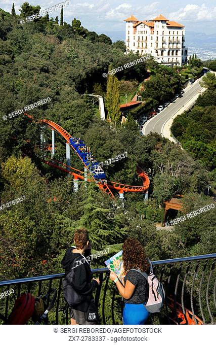 Roller coaster in The Tibidabo theme park, Barcelona, Spain. Tibidabo is a mountain overlooking Barcelona, Catalonia, Spain