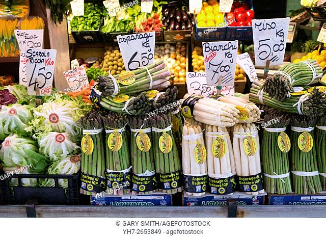 Green and white Asparagus for sale at Rialto Market Venice, Italy, April