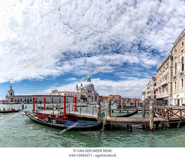 canal grande with gondolas in Venice, Veneto