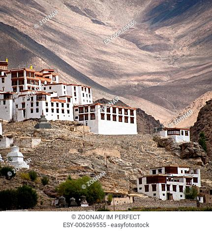 Buddhist heritage, Likir monastery ( Gompa ) over Himalaya mountains. India, Ladakh, Likir Gompa