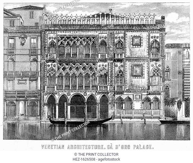 The Ca' d'Oro, Venice, Italy, c19th century. The Ca' d'Oro (correctly Palazzo Santa Sofia) is regarded as one of the most beautiful palazzos on the Grand Canal...