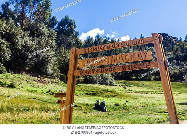 Sign at the entrance of the Tambomachay Incan site at Cusco, Peru