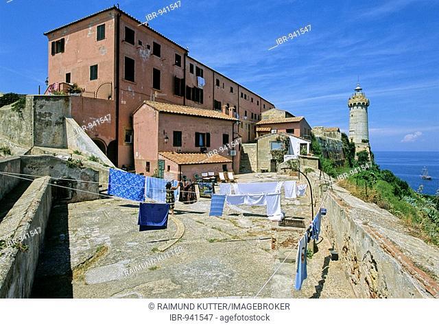 Forte Stella fortifications, lighthouse, Portoferraio, the island of Elba, Livorno Province, Tuscany, Italy, Europe