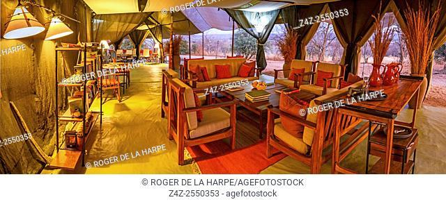 Kwihala Camp dining and lounge area. Ruaha National Park. Tanzania