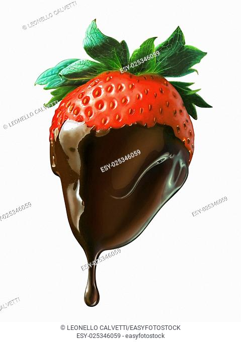 Strawberry half covered by liquid chocolate dripping. On white background with clipping path