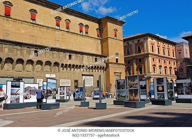 Exhibition by Sala Borsa library in Palazzo d'Accursio next to Piazza Maggiore, Bologna, Emilia-Romagna, Italy