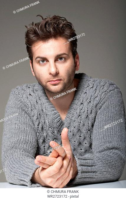 adult, alone, background, casual, Caucasian, face, gray, guy, handsome, human, isolated, jumper, look, looking, male, man, one, person, portrait, pullover