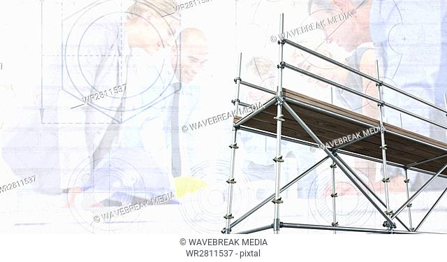 3D scaffolding with architects and blueprint background