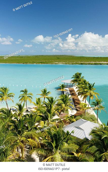 Jetty walkway at beach resort, Providenciales, Turks and Caicos Islands, Caribbean